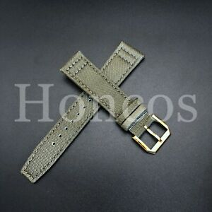 20 MM CANVAS LEATHER WATCH BAND STRAP FOR IWC PILOT TOP GUN PORTUGUESE + BUCKLE