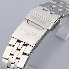 22MM WATCH BAND POLISHED STAINLESS STEEL BRACELET SOLID LINK