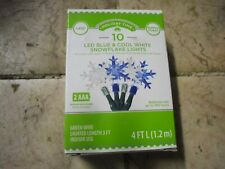 New ! Holiday Time 10 Counts LED Blue & Cool White Snowflake Lights 4 FT Long