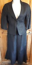 Black Libra Linen Skirt/Jacket/Suit UK Size 14 Fit & Flare (14)