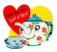 "Anthropomorphic Teapot And Teacup ""U R My Cup O Tea"" / Vtg Unused Valentine Card"