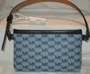 WOMEN'S MICHAEL KORS 551749C FANNY-PACK BAG BLUE GRAY/ NAVY BLUE SIZE SMALL