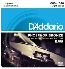 D'Addario EJ69 5 String Banjo phosphor bronze Light 9-20 j69