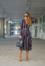 Zara NEW Striped NAvy Red Kimono Wrap Crossover Long Sleeve Midi Maxi Dress M
