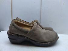 BOC Born Tan Brown Leather Slip On Wedge Clog Professional Work Women Shoe 9M 40