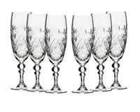 6 Russian CUT Crystal Champagne Glasses on a Stem 200ml/6.8oz Hand Made