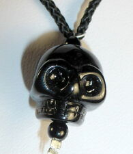 TIBETAN HIGH ALTITUDE BLACK QUARTZ CRYSTAL SINGLE HUMAN SKULL BEAD NECKLACE