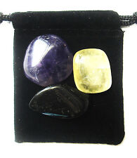 PISCES ZODIAC / ASTROLOGICAL Tumbled Crystal Healing Set = 3 Stones +Pouch +Card