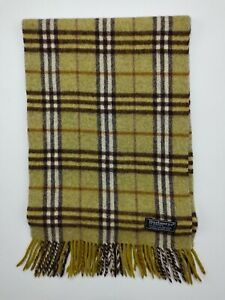 Genuine Burberry Classic Check Green 100% Lambswool vintage winter scarf scarves