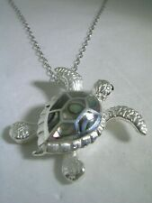 TURTLE PENDANT WITH ABALONE & MOVABLE FLIPPERS SET IN STERLING SILVER ONYX EYES