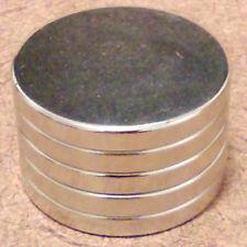 5 N52 Neodymium Cylindrical (3/4 x 1/16) inch Cylinder/Disc Magnets.