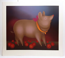 ORIGINAL Igor Galanin Limited Serigraph Blushing Pig with Apples HAND SIGNED COA