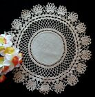 Lovely+Arts+and+Crafts+Style+Doily+-+TAUPE+HANDMADE+LACE+ON+HEAVY+DARK+LINEN+11%22