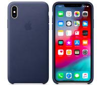 Mitternachtsblau iPhone XS Max Apple Echt Original Leder Hülle Leather Case