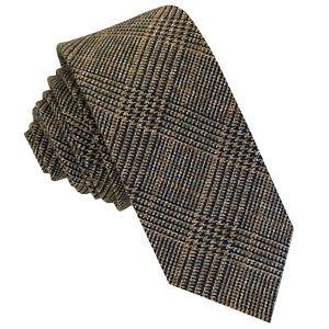 GASSANI Tweed Woll-Krawatte Kariert, Schmale Dünne Flanell Herren-Krawatte Wolle