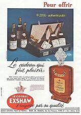 PUBLICITE EXSHAW JOHN COGNAC CADEAU FLACON AGE D'OR MALETTE DE 1949 FRENCH AD