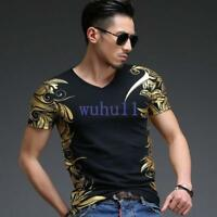 Men's Tops Tees Short Sleeve V-neck Geometric Gold Print Slim Fit T-Shirt Solid