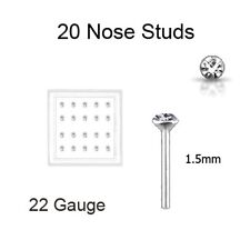 Lot 20 Silver Round Nose Stud L Bend Ring 1.5mm ALL Clear 22 Gauge FREE Backing!