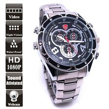 Waterproof 12MP HD 1080P Sound Activated Spy Watch Camera DVR Mini DV 16GB A7