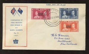 COOK ISLANDS 1937 CORONATION ILLUSTRATED FDC RARATONGA