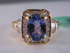 14KY Gold 1.65 Carat Tanzanite & Diamond Ring