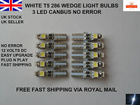 10 x 3 LED T5 286 SMD CANBUS ERROR FREE WHITE BULBS DASHBOARD CLOCK  UK 12v 0.5W