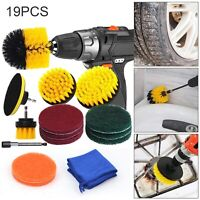 19X Drill Brush Attachment Set Power Scrubber Kit Car Scrubbing Cleaning Kit