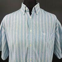 DOCKERS Mens Casual Shirt LARGE Short Sleeve Blue Regular Fit Striped Cotton