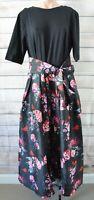 E Shakti Skater Dress Size Xl Black Red Pink Floral Rockabilly Fit Flare