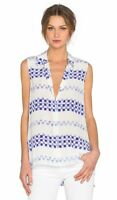 Equipment Blue & White Sleeveless Silk Print Milla Tunic Blouse Top SZ XS