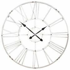 Large Vintage Silver Wall Clock 92cm Rustic Retro Clocks Kitchen French Cl11