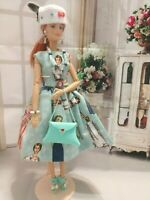 OOAK HANDMADE DOLL CLOTHES FASHIONISTA TEAL LADY DESIGN OUTFIT DRESS SET