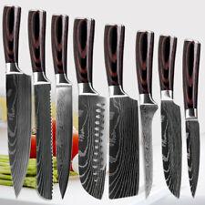 8Pcs Stainless Steel Kitchen Chef Knives Set Damascus Pattern Knife Value Set