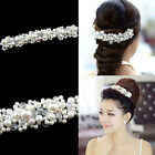 New Bridal Wedding Party Jewelry Pearl Crystal Flower Hair Band Headband Tiara