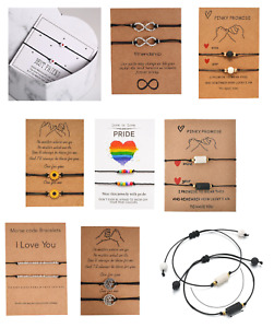 FRIENDSHIP CORD BRACELETS COUPLES GIFT PINKY PROMISE LGBT GAY PRIDE LOVE LUCKY