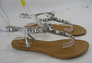 new ladies  Silver Rhinestones Sexy Summer Sexy Sandal Shoes women Size 8