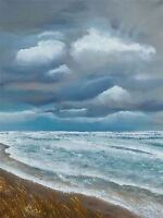 PRINT POSTER PAINTING SEASCAPE BEACH STORMY SKY CLOUDS WAVES ROLLING LFMP1143