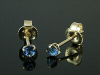 333 Gold  Ohrstecker  mit 3 Krappen 1 Paar 3 mm Grösse mit  echtem Saphir