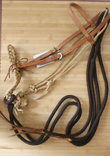 New Breaking / Loping Hackamore headstall set with reins. Bosal Horse Tack