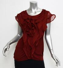 LANVIN Womens Red Sleeveless Frayed Ruffle Blouse Shirt Top 40