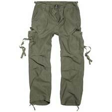 Brandit M-65 Vintage Trousers Mens Army Combat Camping Cargo Pants Olive Green