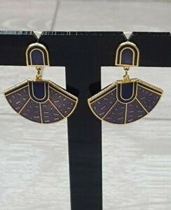 Vintage Purple Enamel Drop Dangle Earrings Art Deco style Fan Design