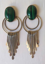 "SIGNED SIW Vintage X-large 2 3/4"" LONG Sterling Silver Malachite Dangle Earrings"