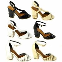 WOMENS LADIES STRAPPY PEEP TOE CUT OUT CHUNKY BLOCK MID HEEL SHOES SANDALS
