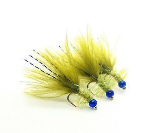 3 x Blue Flash Damsel Olive Pearl Fritz Fly Metallic Blue Hothead Size 12
