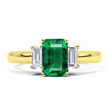 9Carat Yellow Gold Emerald Solitaire Accents Fine Gemstone Rings