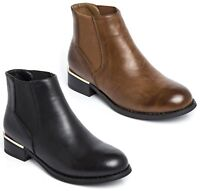 KIDS GIRLS SLIP ON FLAT LOW GOLD HEEL CHELSEA ANKLE WINTER SHOES BOOTS SIZE 12-5