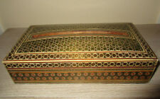 Spectacualr Vintage Wooden Mosaic Inlay Large Tissue Red Box Velvet Lining