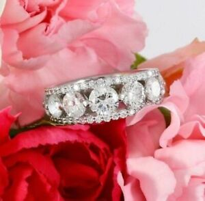 2.18Ct White Round Diamond Wedding Anniversary Band In Solid 925 Sterling Silver