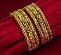 Indian Bollywood Goldtone Screw Lock Bangle Set Women Designr Jewellery KJ48-PAR